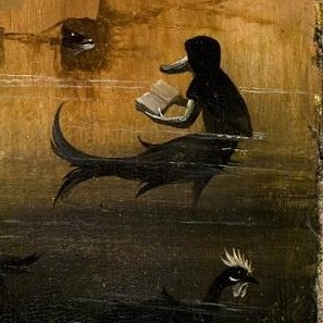 A fish with the head of a duck reading a book