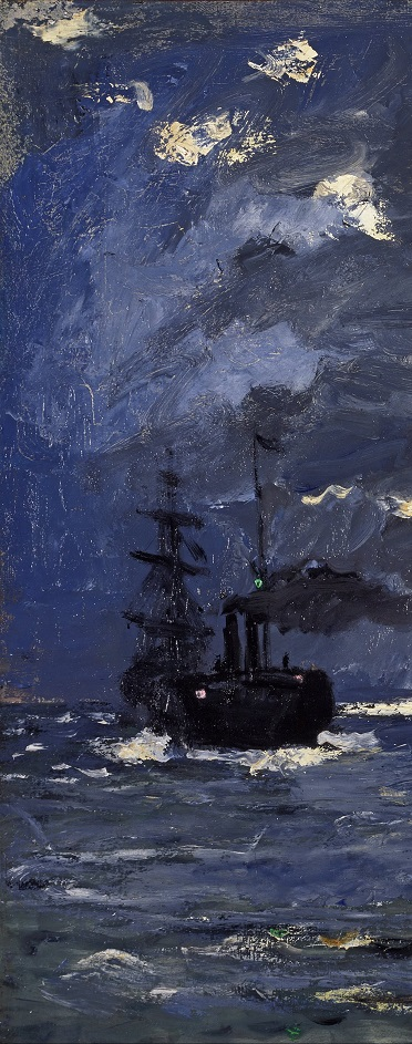 A seascape- shipping by moonlight- detail 2
