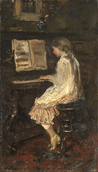 Jacob Maris, girl at the piano