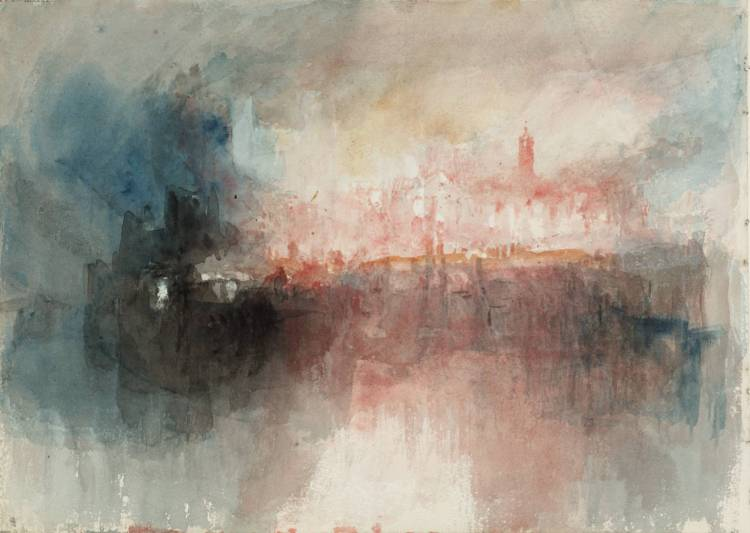 Colour Study: The Burning of the Houses of Parliament 1834 by Joseph Mallord William Turner 1775-1851