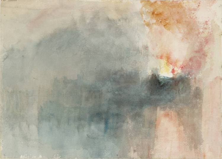 The Burning of the Houses of Parliament, from the River 1834 by Joseph Mallord William Turner 1775-1851