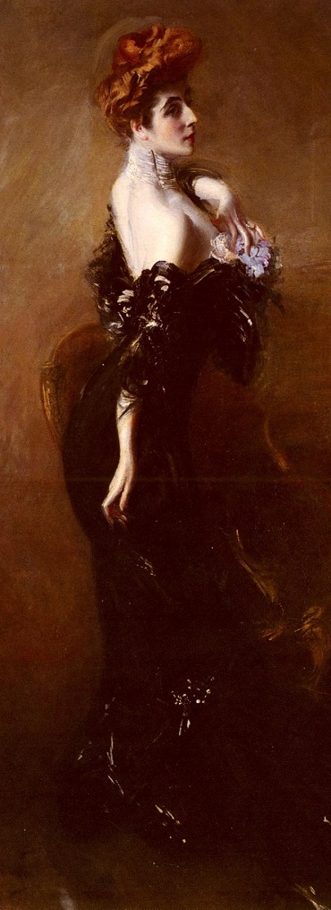 Madame Pages in evening dress