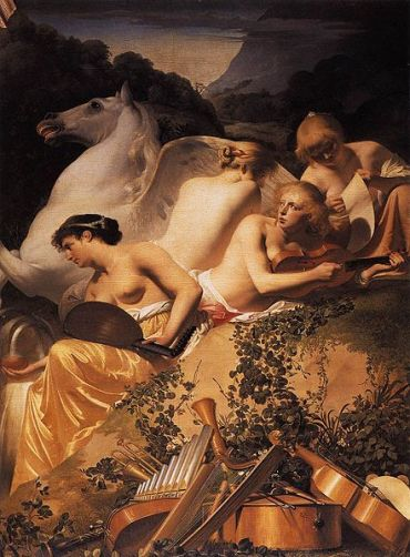 Everdingen, four muses and Pegasus on Parnassus