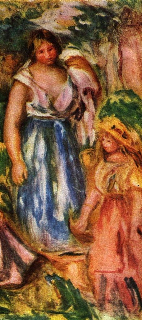 Renoir Two women and a girl in a landscape