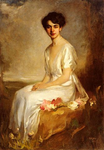 Artur Lajos Halmi, portrait of an elegant young woman in a white dress