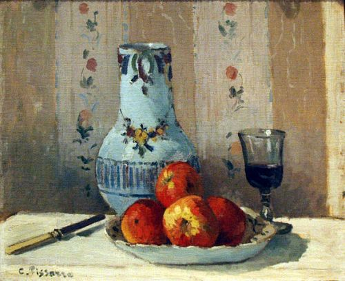 Pissarro, still life painting with apples and pitcher