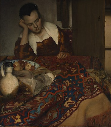 Vermeer, a maid asleep