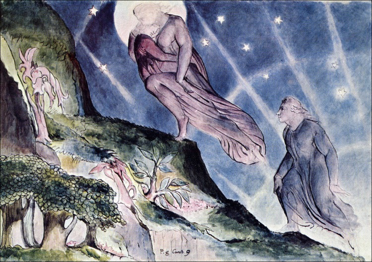 Blake, Light carrying Dante, Purgatorio canto 9