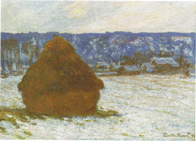 Monet Haystack, snow effect, overcast day