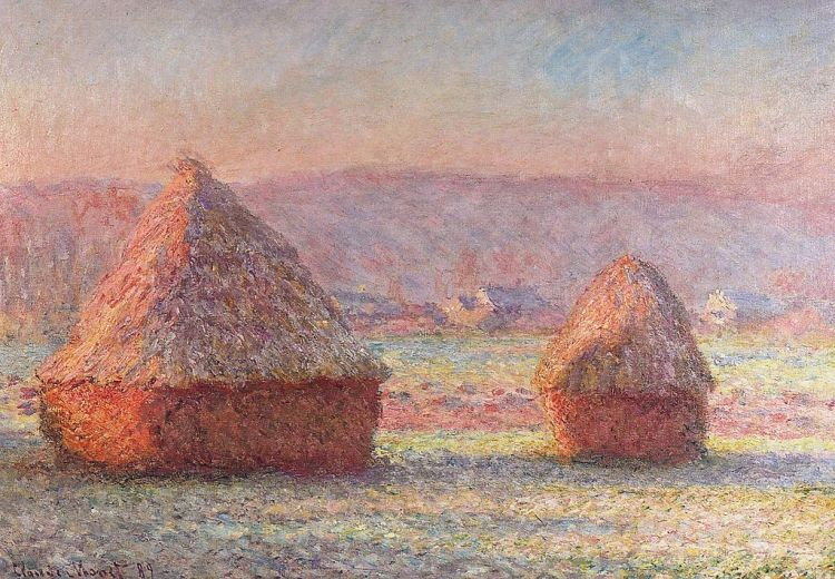Monet haystack, white frost, sunrise