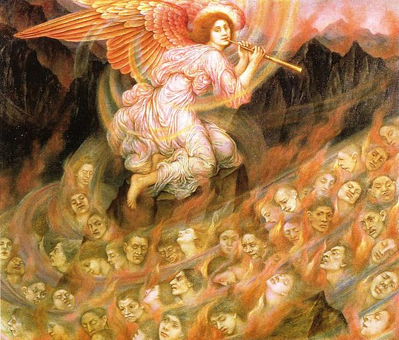 Evelyn de Morgan, Angel piping to the souls in Hell