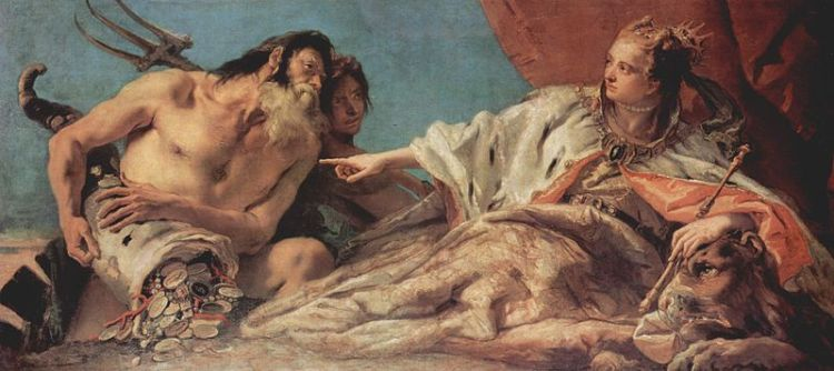 Tiepolo Neptune bestowing gifts on Venice