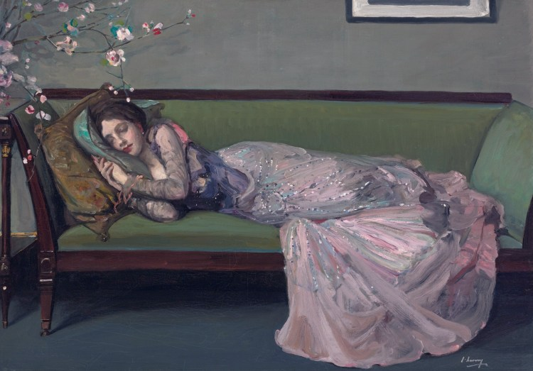 The green sofa  *oil on canvas  *65.4 x 92.4 cm  *signed b.r.: J. Lavery