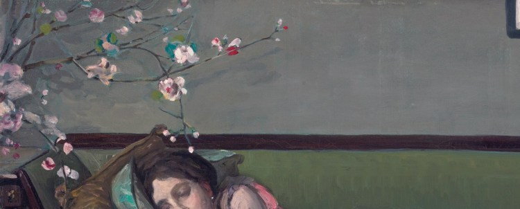 John Lavery, the Green Sofa, detail, featured