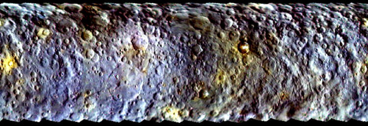 map projected view of Ceres, taken by Dawn