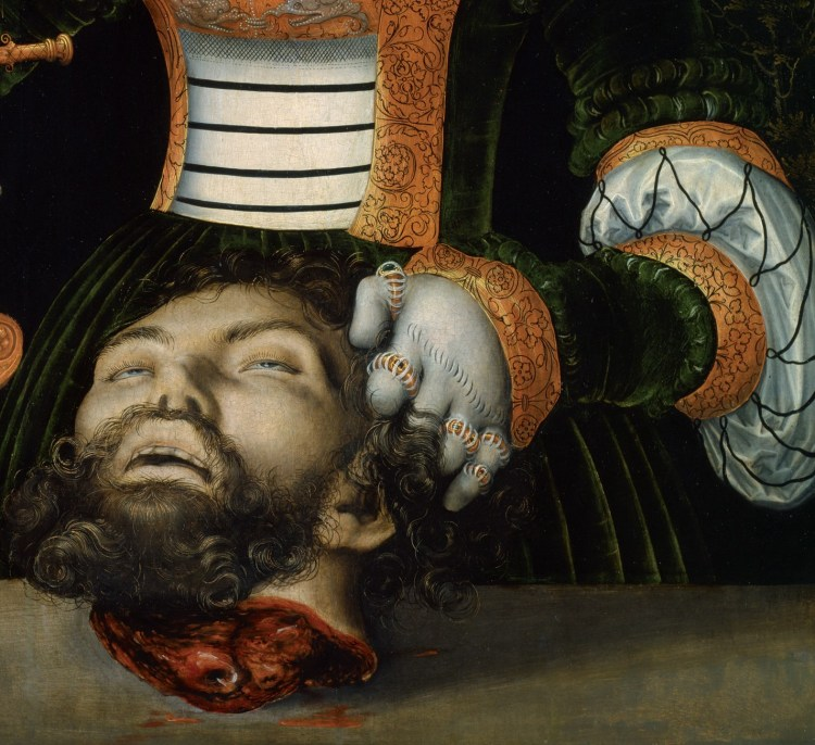 Cranach, Judith and Holofernes, his head