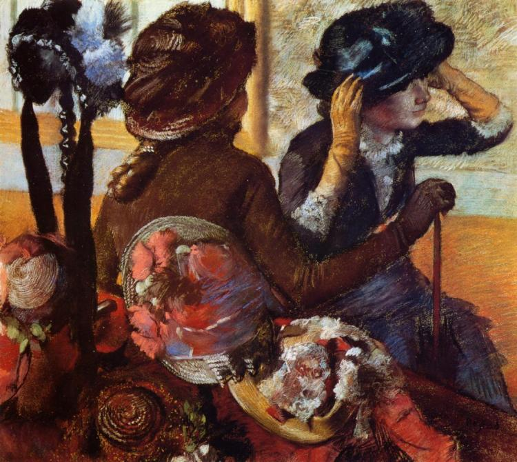 Degas, at the milliners in gloves