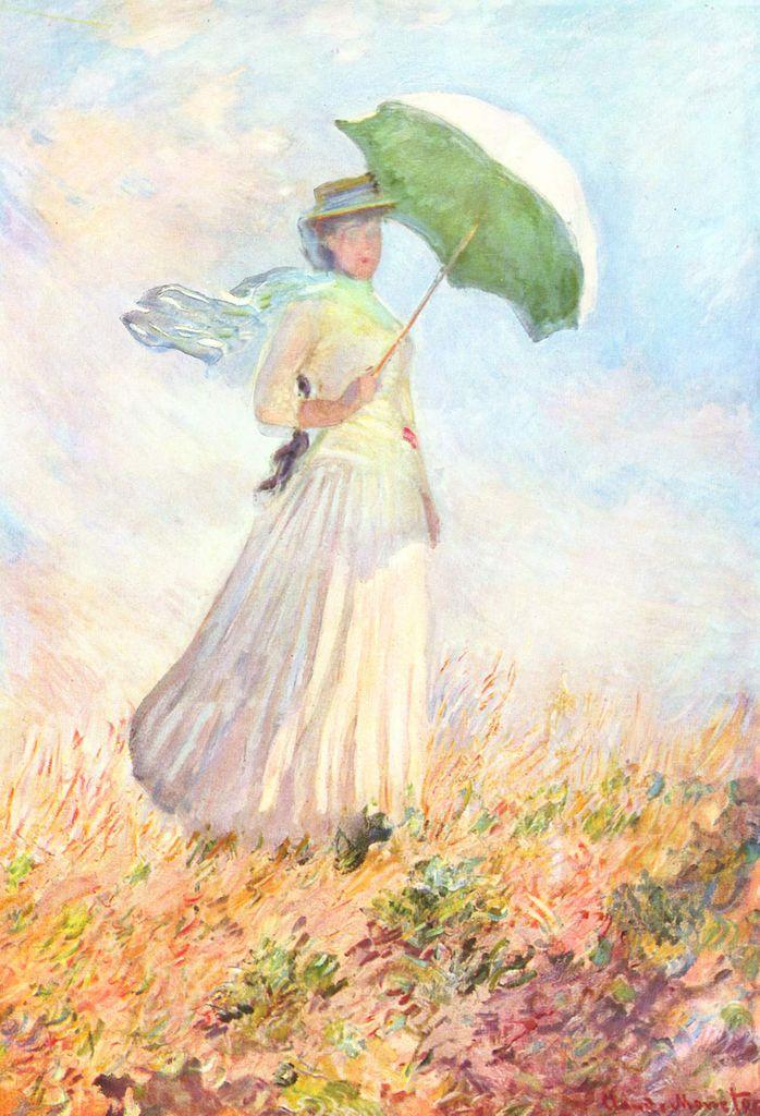 Monet, Femme à l'ombrelle, tournée vers la droite