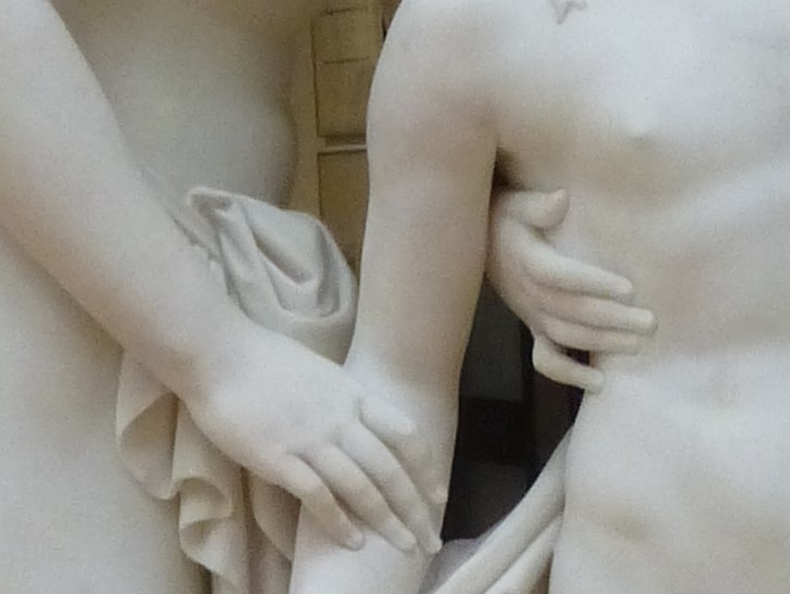 Hylas surprised by the Naiades 10, the drape of the cloth and the pressure of the fingers in the flesh