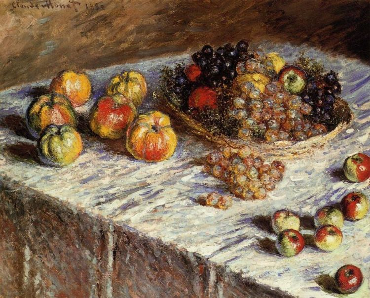 Monet, still life with apples and grapes