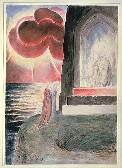 Blake, Dante and Virgil before the Angelic Guardian at the gate of Purgatory
