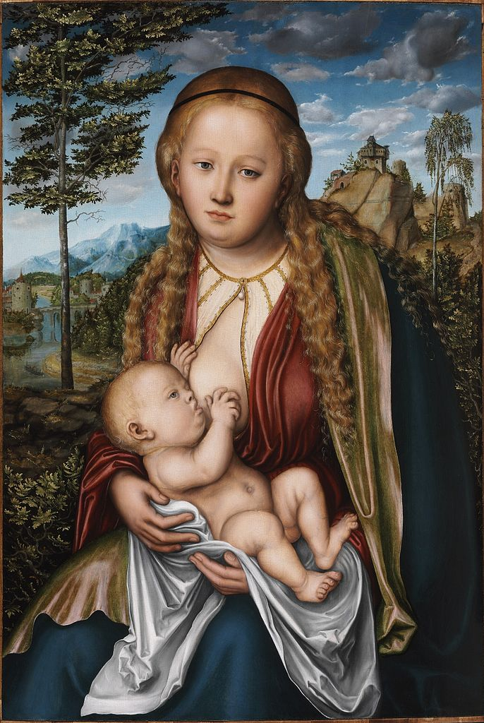 Lucas Cranach, the Virgin suckling the child