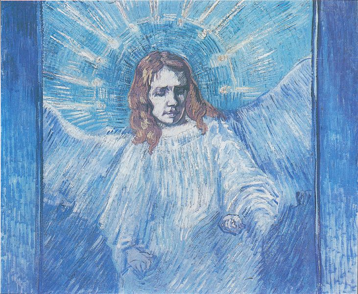 Van Gogh, half figure of an angel, after Rembrandt