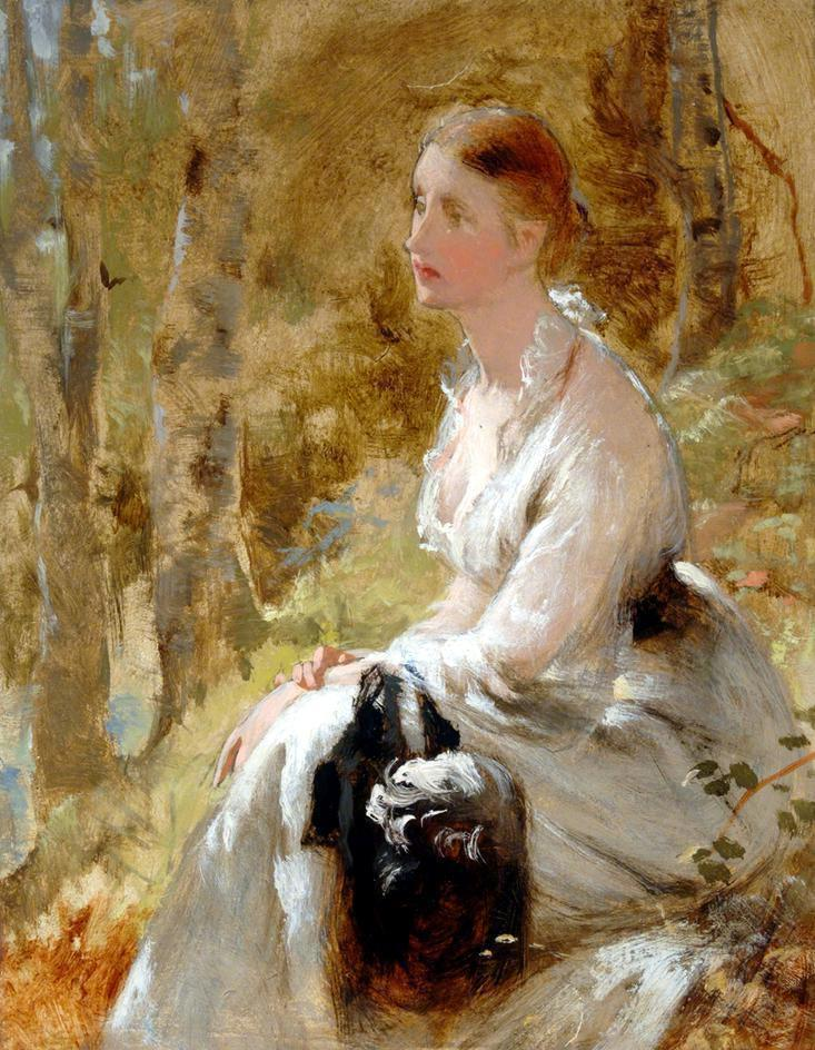 George Elgar Hicks, seated woman in white dress