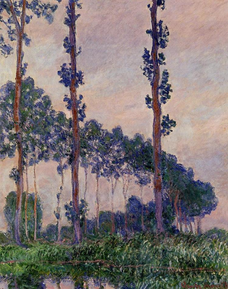 Monet three trees in grey weather