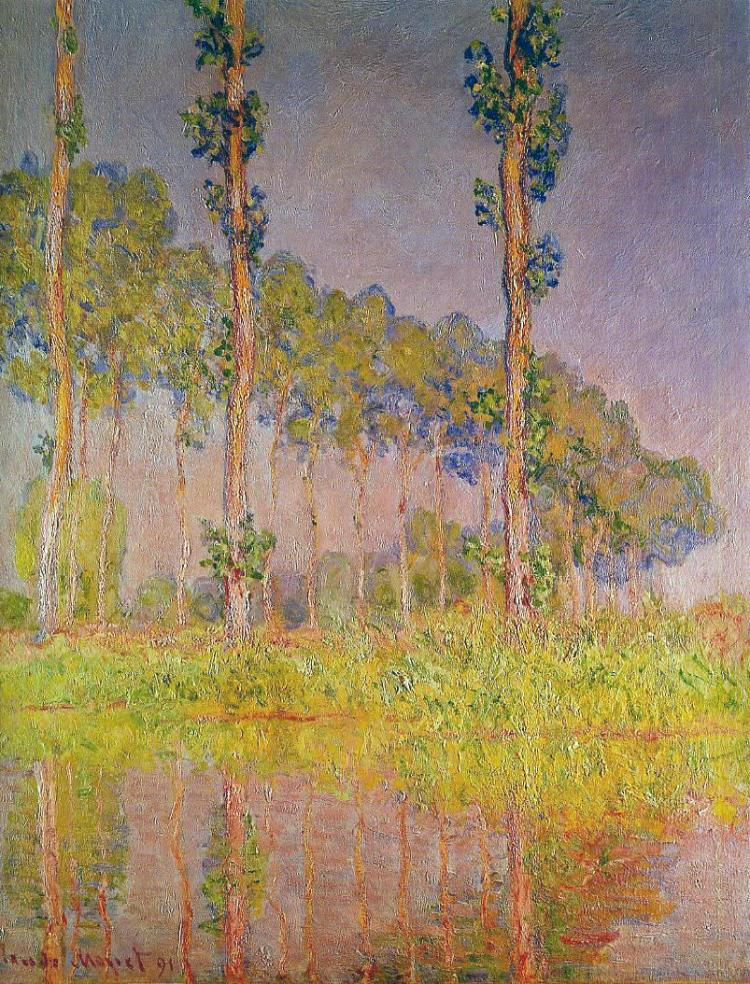 Monet three trees in Spring