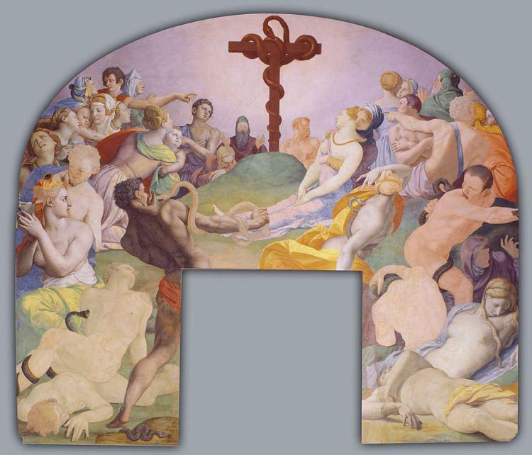 Bronzino, the adoration of the bronze snake