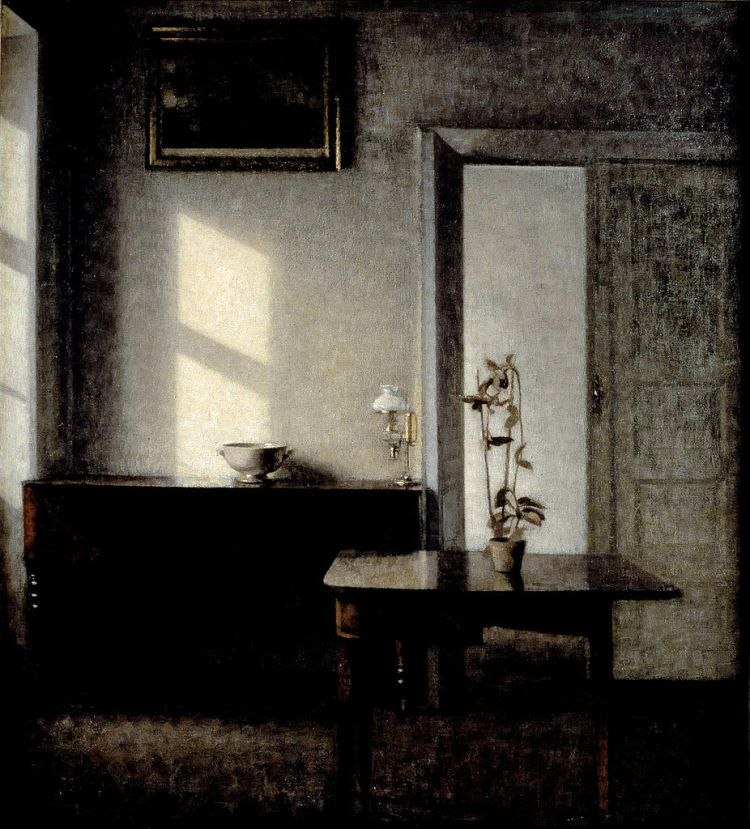 Hammershoi, interior with potted plant on card table