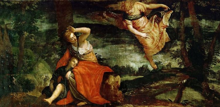 Paolo Veronese, the angel appears to Hagar in the desert, featured