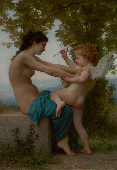 Bouguereau, a young girl defending herself against Eros