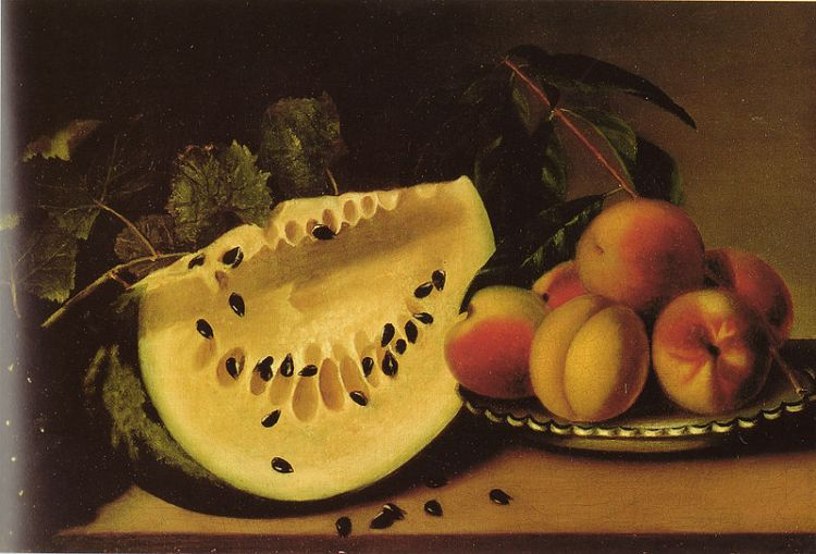 Margaretta Angelica Peale, Still life with watermelon and peaches