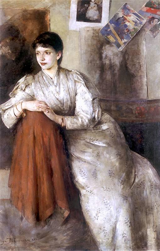 olga-boznanska-portrait-of-a-woman-in-a-white-dress